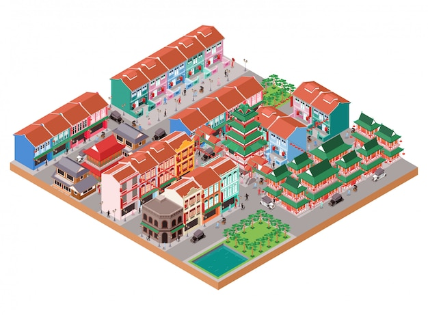 Ilustracja izometryczna stare miasto w chinach z tradycyjnymi i kolonialnymi budynkami oraz działalnością ludzi