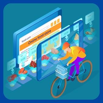 Ilustracja izometryczna strony internetowej supermarketu