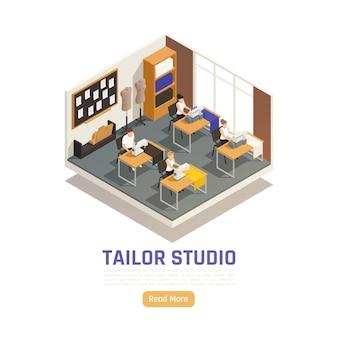 Ilustracja izometryczna studio mody atelier