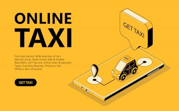 Ilustracja izometryczna taksówki online, strona internetowa do odbioru taksówki