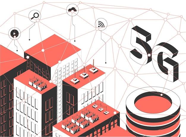 Ilustracja izometryczna technologii bezprzewodowej 5g