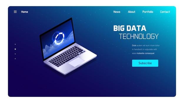 Ilustracja izometryczna technologii big data, system analityki biznesowej