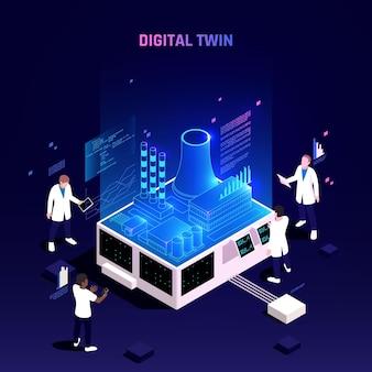 Ilustracja izometryczna technologii cyfrowej bliźniaczej