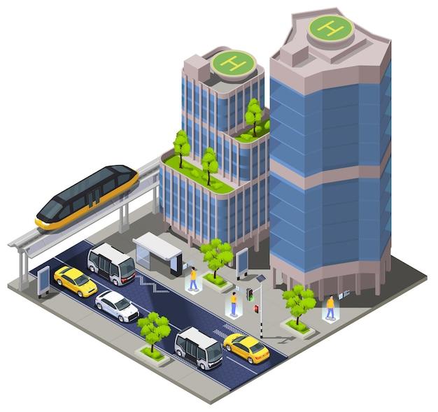 Ilustracja izometryczna technologii inteligentnego miasta