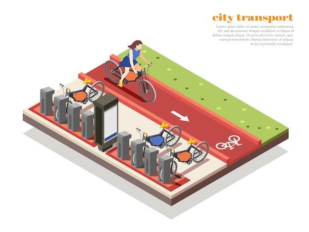 Ilustracja izometryczna transportu miejskiego z wypożyczalnią rowerów i kobietą jeżdżącą na rowerze