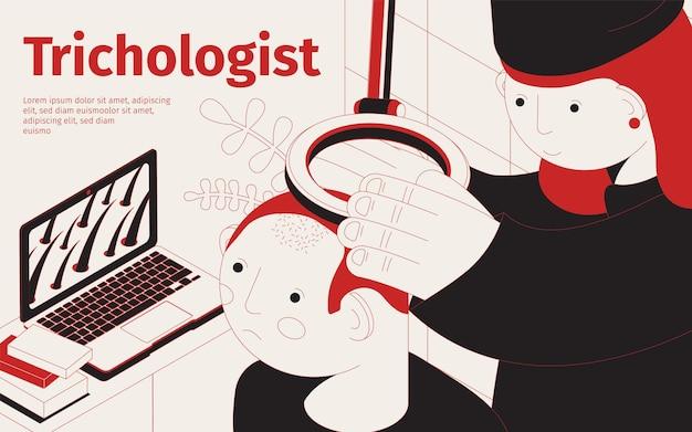 Ilustracja izometryczna trychologa