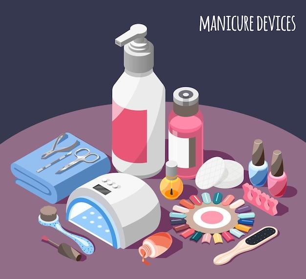 Ilustracja izometryczna urządzeń do manicure