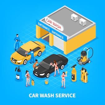 Ilustracja izometryczna usługi mycia samochodu
