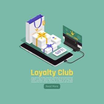 Ilustracja izometryczna utrzymania lojalności klienta