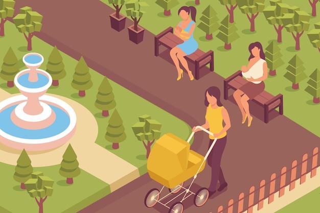 Ilustracja izometryczna w parku karmienia piersią
