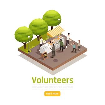 Ilustracja izometryczna w postaci wolontariatu na cele charytatywne z tekstem edytowalnym na przycisku czytaj więcej i kompozycją do dzielenia się jedzeniem na świeżym powietrzu