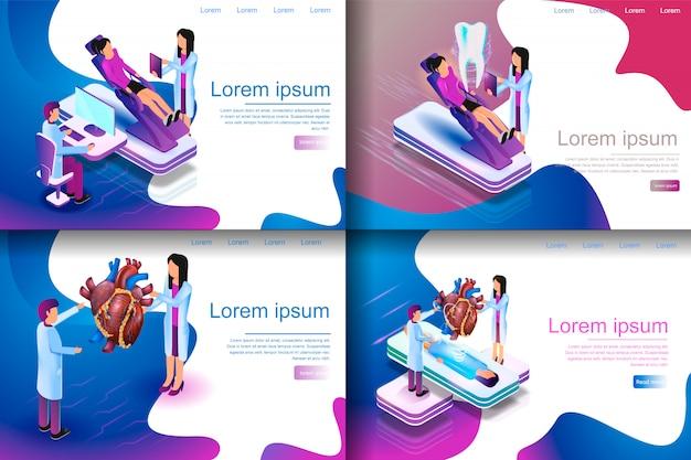Ilustracja izometryczna wirtualne badania medyczne
