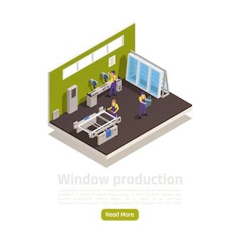 Ilustracja izometryczna wnętrza zakładu produkcji okien z tworzywa sztucznego