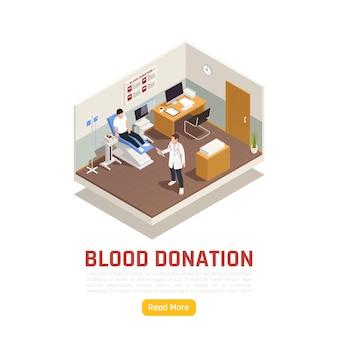 Ilustracja izometryczna wolontariatu na cele charytatywne z tekstem przycisku czytaj więcej i widokiem centrum medycznego krwi