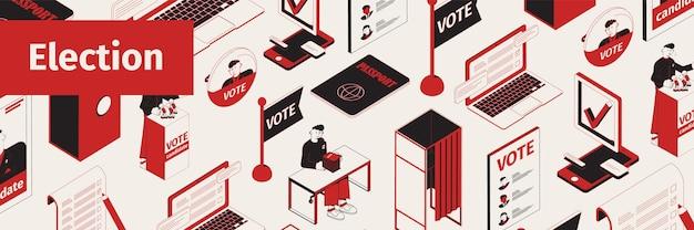 Ilustracja izometryczna wyborów w nagłówku witryny