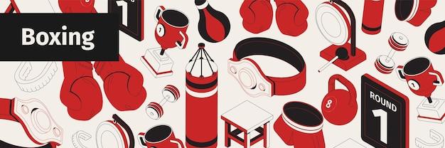 Ilustracja izometryczna wzór witryny internetowej boksu