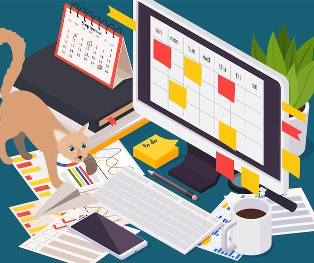 Ilustracja izometryczna zarządzania czasem