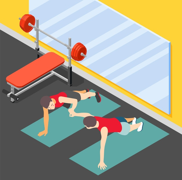 Ilustracja izometryczna zdrowej rodziny fitness z ojcem uczącym syna robienia pompek w płaskiej sali gimnastycznej