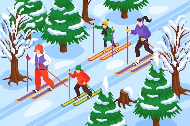 Ilustracja izometryczna zima na nartach