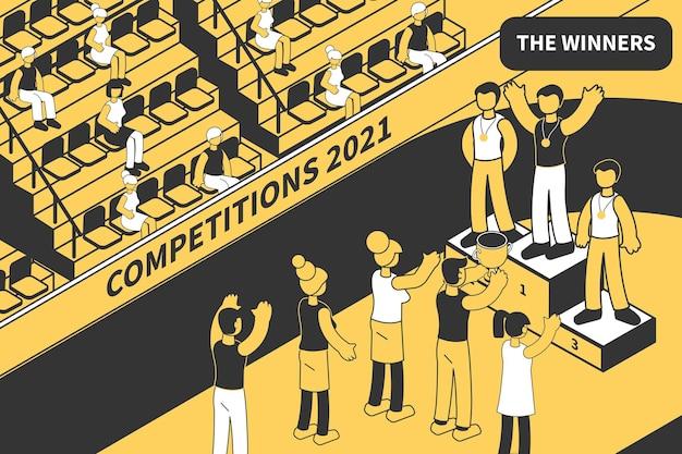 Ilustracja izometryczna zwycięzcy konkursu z widokiem na obiekt sportowy z publicznością i sportowcami na podium zwycięstwa