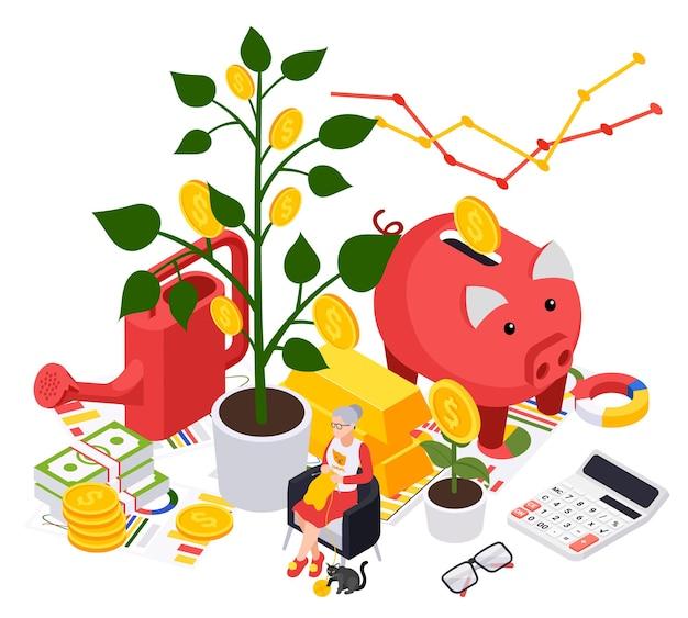 Ilustracja izometrycznego planu przygotowania do emerytury