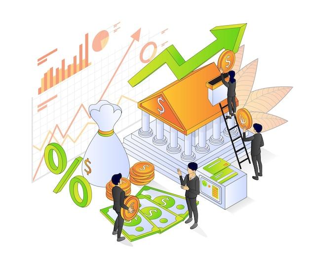 Ilustracja izometrycznego stylu premium vector o bankowości i finansach z postacią