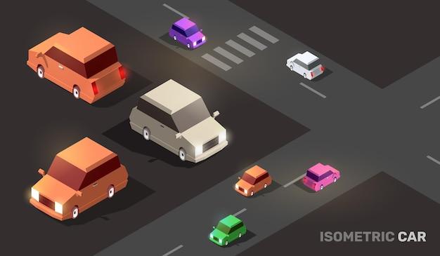 Ilustracja izometrycznej drogi miejskiej z kolorowym transportem samochodowym