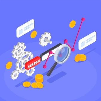 Ilustracja Izometrycznej Optymalizacji Aplikacji Premium Wektorów