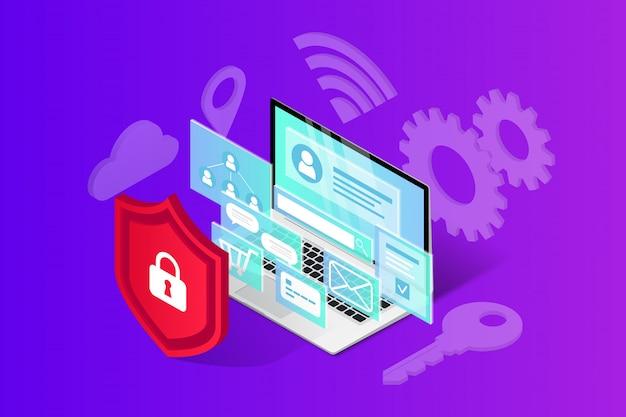 Ilustracja izometryczny bezpieczeństwa internetowego.