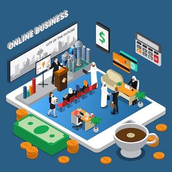 Ilustracja izometryczny biznes ludzi arabskich online