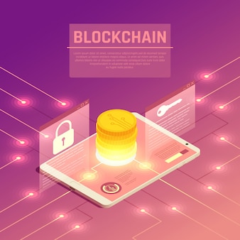 Ilustracja izometryczny blockchain