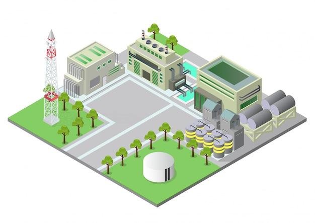 Ilustracja izometryczny budynki przemysłowe