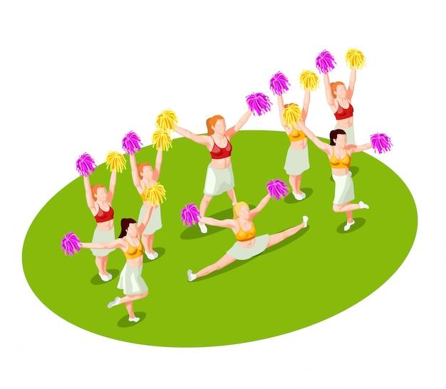 Ilustracja izometryczny cheerleaderek