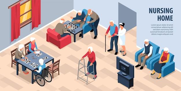 Ilustracja izometryczny domu opieki