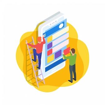 Ilustracja izometryczny interfejs aplikacji mobilnej