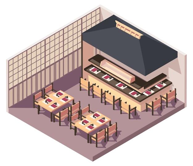 Ilustracja izometryczny japońskiej restauracji