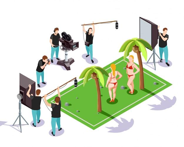 Ilustracja izometryczny kinematograf