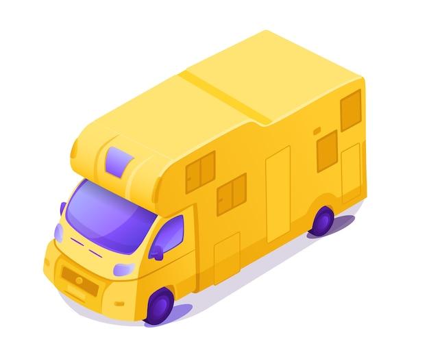 Ilustracja izometryczny kolor żółty rv. kamper kempingowy na letnie wakacje na łonie natury. pojazd rekreacyjny.