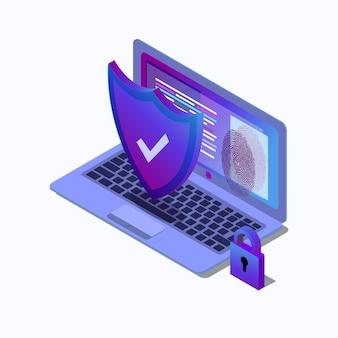Ilustracja izometryczny koncepcji cyberbezpieczeństwa