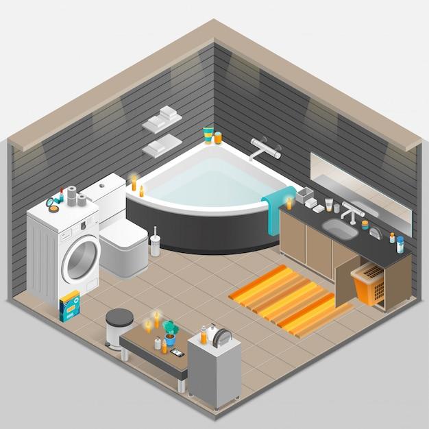 Ilustracja izometryczny łazienka