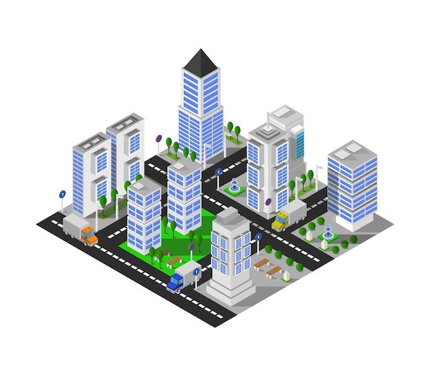 Ilustracja izometryczny miasta