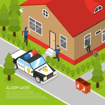 Ilustracja izometryczny odpowiedzi na alarm bezpieczeństwa w domu