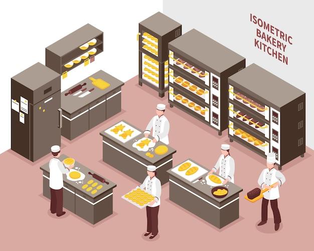 Ilustracja izometryczny piekarnia
