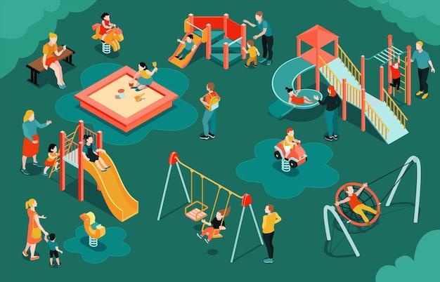 Ilustracja izometryczny plac zabaw