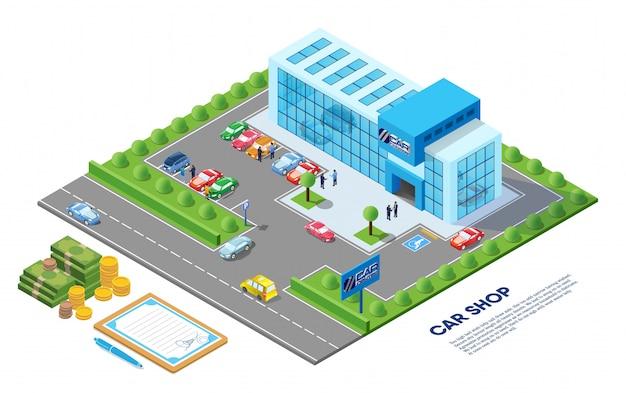 Ilustracja izometryczny sklep samochodowy