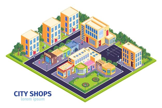Ilustracja izometryczny sklepy miejskie