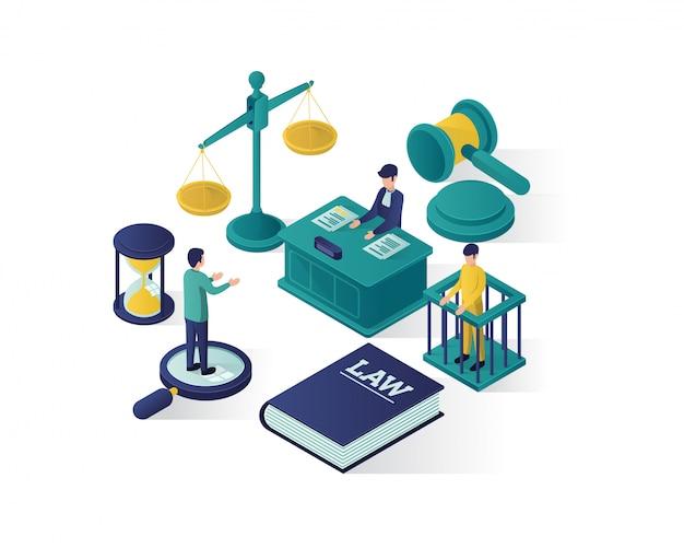 Ilustracja izometryczny sprawiedliwości i prawa, izometryczne ilustracji firmy prawniczej.