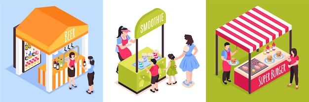 Ilustracja izometryczny stragany z jedzeniem
