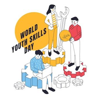 Ilustracja izometryczny światowy dzień umiejętności młodzieży