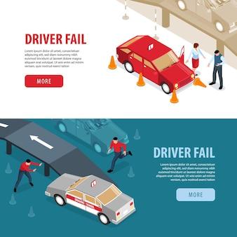 Ilustracja izometryczny szkoła jazdy